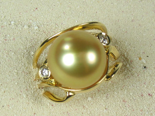 Golden Pearl & Diamond Ring #JGP-84978