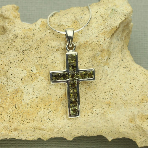 Genuine Moldavite Cross Necklace #738