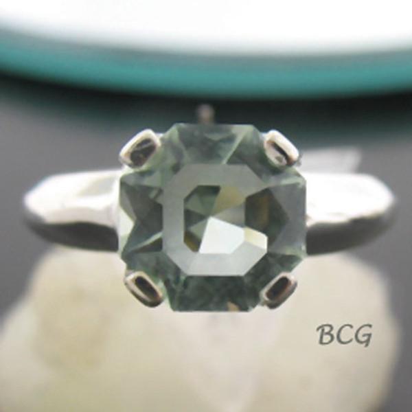 """C"" Initial Prasiolite Ring #GRI-1957"