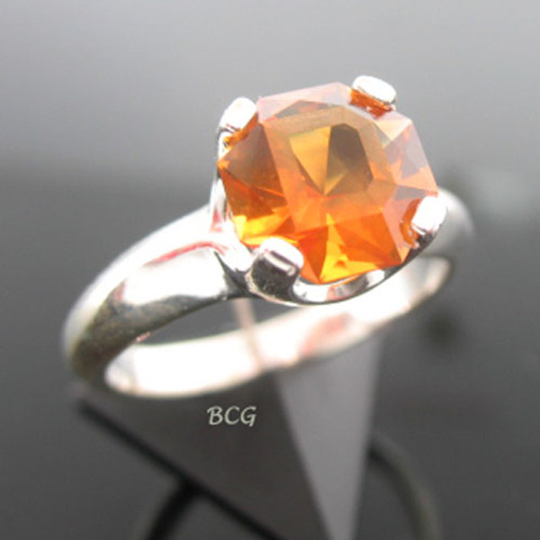 """D"" Initial Ring Madeira Citrine #GRI-1963"