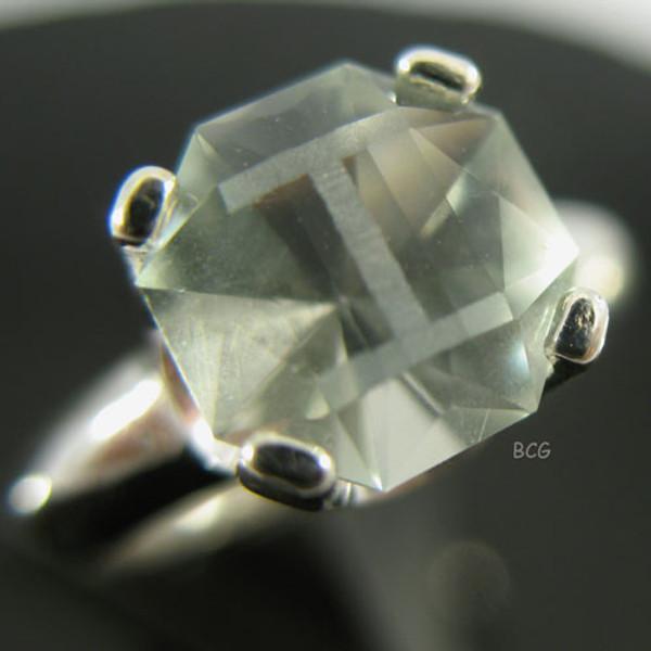 """""""I"""" Initial Prasiolite Ring #GRI-2032"""
