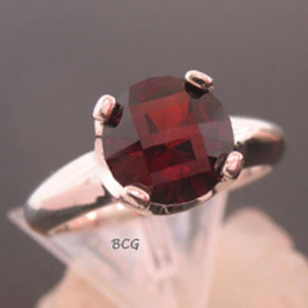 """S"" Initial Malaya Garnet Ring #GRI-1825"