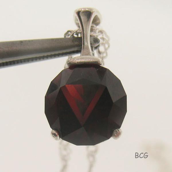 """V"" Initial Malaya Garnet Necklace #PE-2023"
