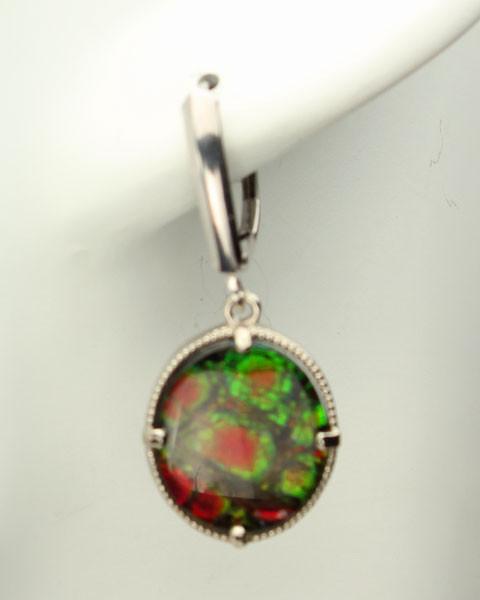 Genuine Natural Ammolite Earrings #EA-3722
