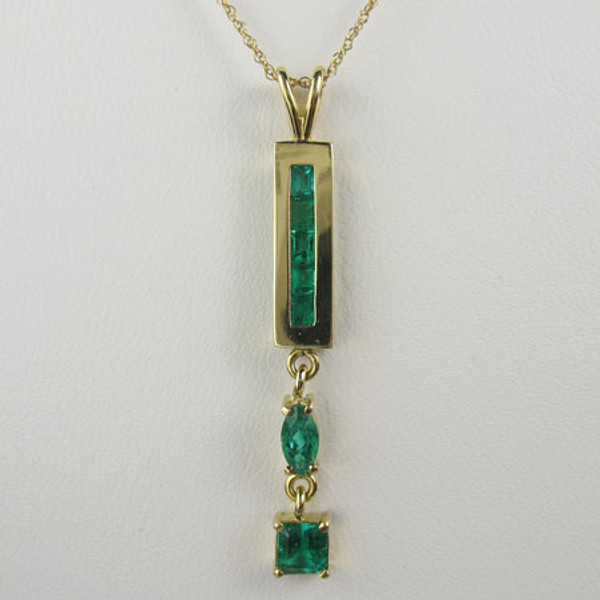 Genuine Colombian Emerald Pendant & Chain