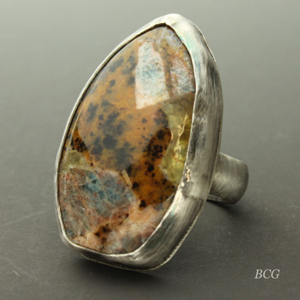 Fossilized Opal Sterling Silver Ring #RI-322