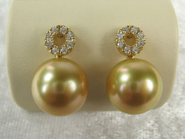 Golden Pearl & Diamond Earrings JGP-85323