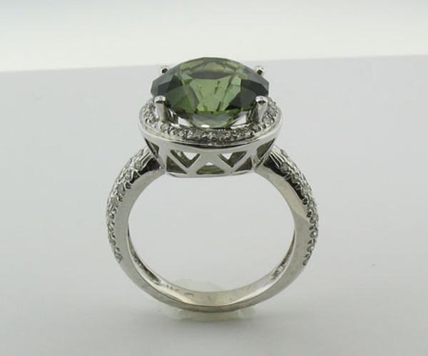 Green Tourmaline & Diamond Ring #6002