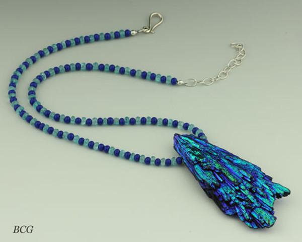 Kyanite with Lapis & Apatite Beads Necklace #KY-2016