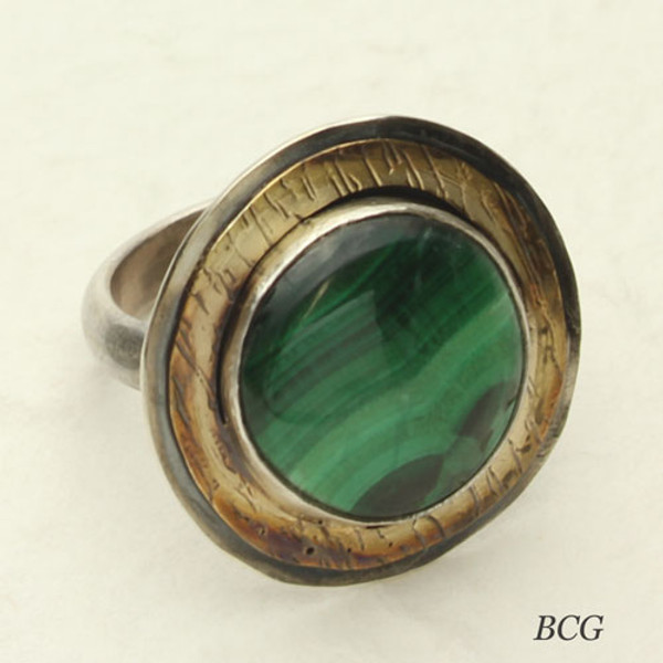 Romantic Style Green Malachite Ring!
