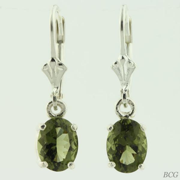 Beautiful Moldavite Earrings #86D Genuine Moldavites