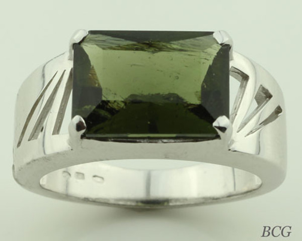 Genuine Moldavite Men's Ring #095
