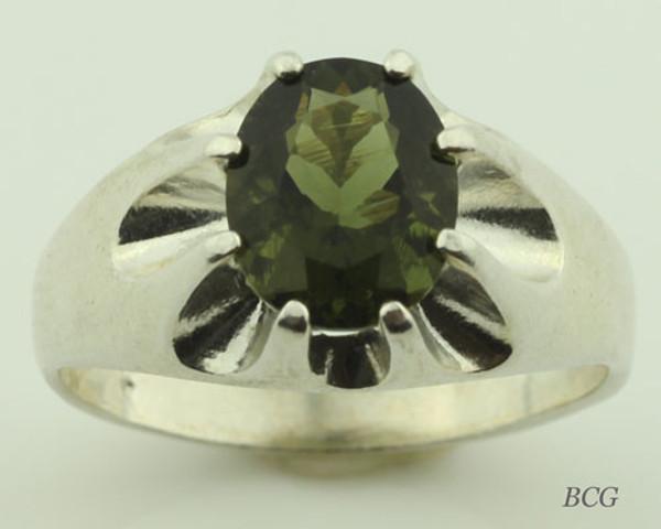 Genuine Moldavite Men's Ring #622