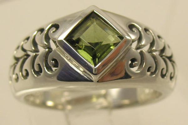 Genuine Moldavite Filigree Ring #708