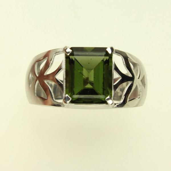 Genuine Moldavite Men's Ring #MDRI-763
