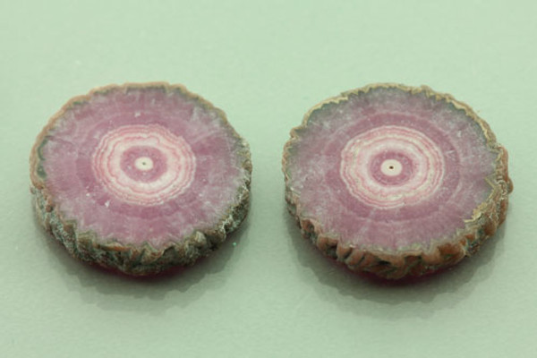 Pair of Rhodochrosite Stalactite Slices