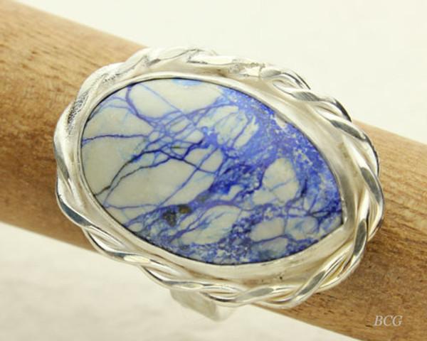 Siberian Azurite & Malachite Sterling Silver Ring #RI-314