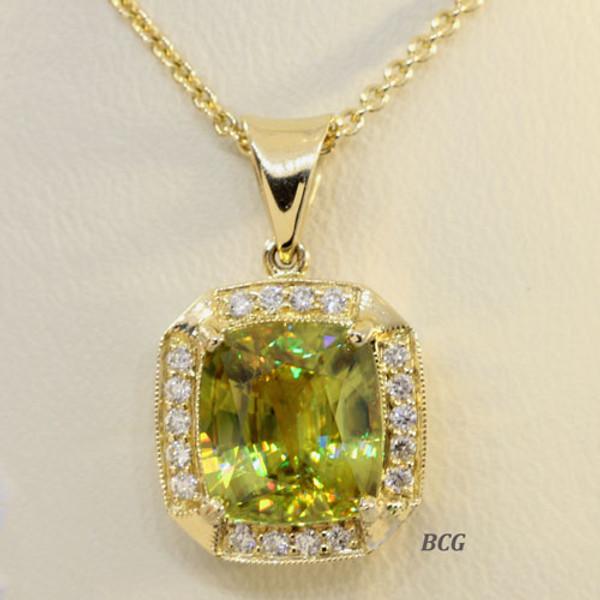Sphene & Diamond Necklace #3400