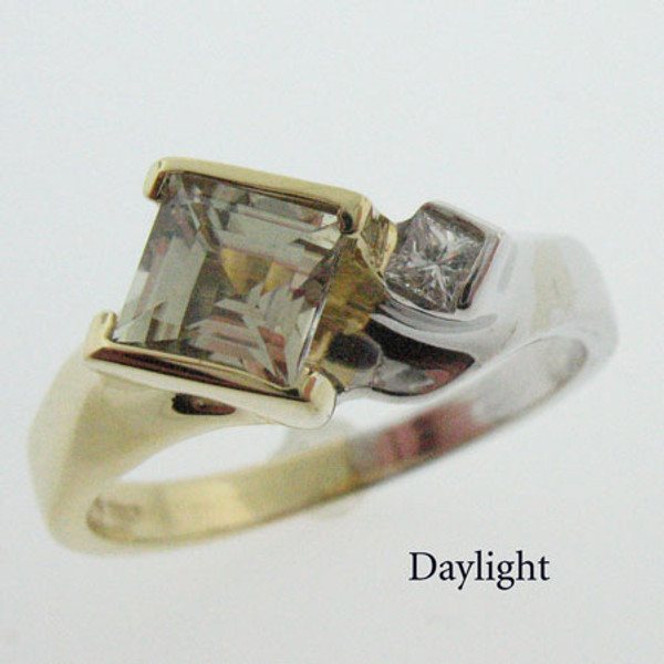 Zultanite and Diamond Two Tone Gold Ring