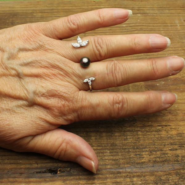Tahitian Pearl Two Finger Ring #RI-563