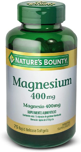 Nature's Bounty Magnesium 400mg - 75 Softgels Buy online in Pakistan on LiveWell.pk