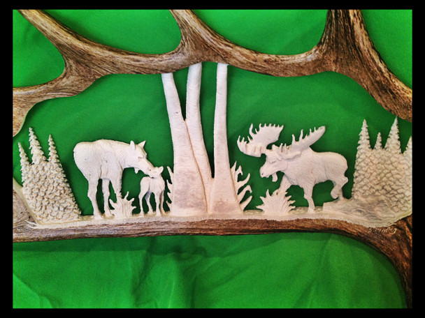 Moose Family Antler Carving