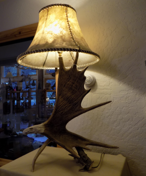 Moose Antler Table Lamp w/Eagle Head, Rawhide Shade