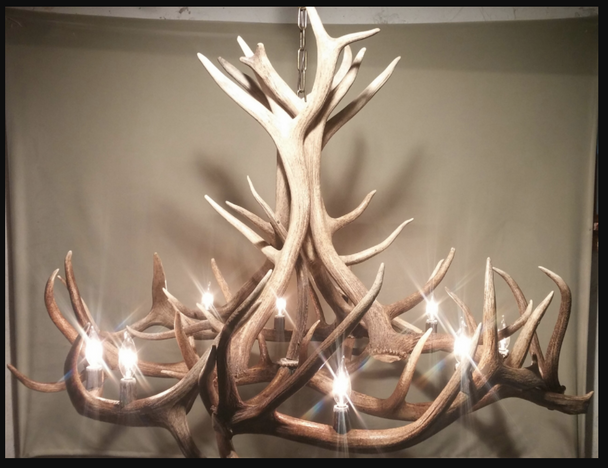 Moon River Elk Antler Chandelier, 9 lights