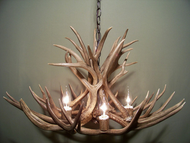 "Colorado Deer Antler Chandelier, 28"" W x 15"" T, 4 Lights"