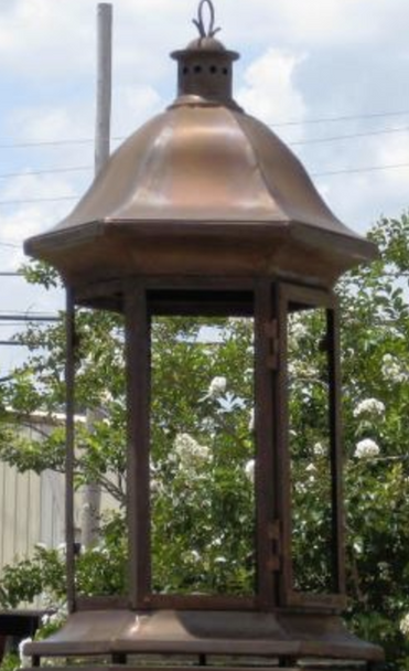 St. James 6 Sided Nautical Pier Mount Copper Lantern