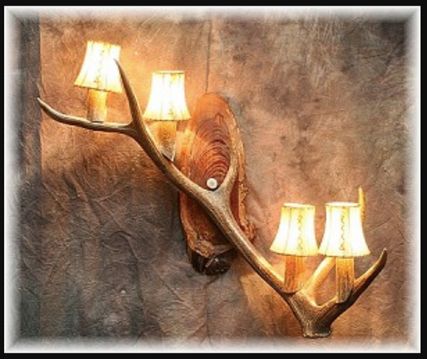 Real Elk Antler Wall Sconce