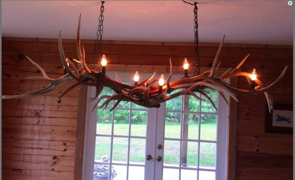 Whiskey River Elk Antler Chandelier