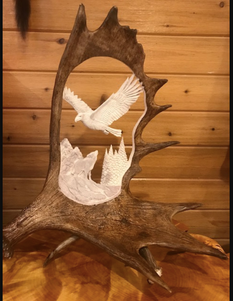 Wild Eagle Howling Wolf Moose Antler Carving