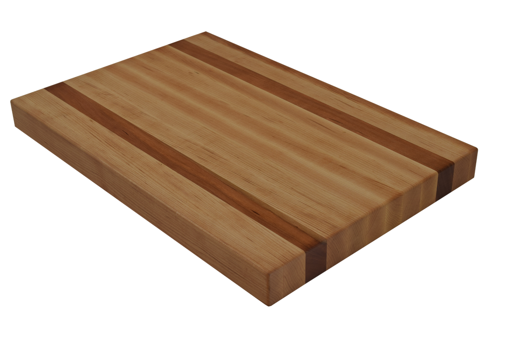 Maple Edge Grain Butcher Block Cutting Board with 2 Cherry Strips