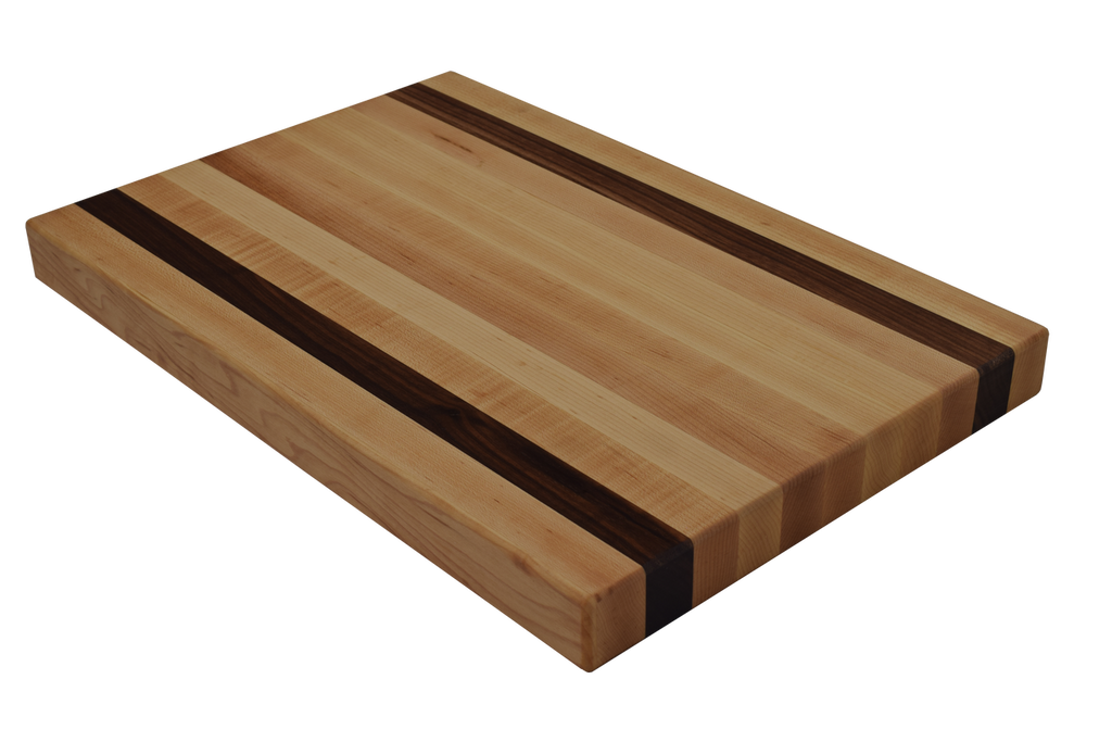 Maple Edge Grain Butcher Block Cutting Board with 2 Walnut Strips