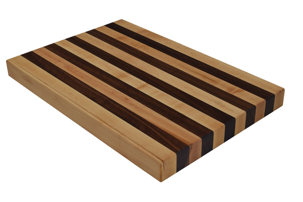 Maple and Walnut Edge Grain Butcher Block Cutting Board