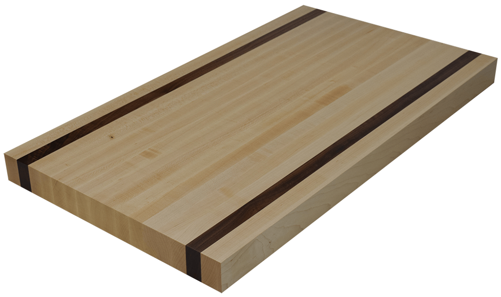 Maple Edge Grain Butcher Block Countertop with 2 Walnut Strips