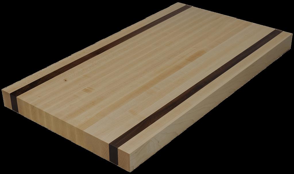 Maple Edge Grain Butcher Block Countertop with 2 Walnut Strips.