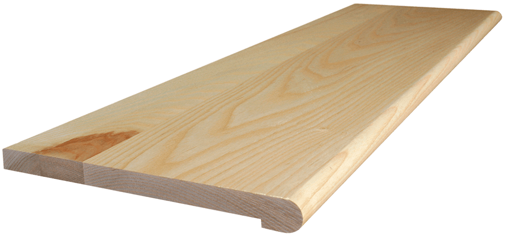 Ash Stair Tread with side angle shot.