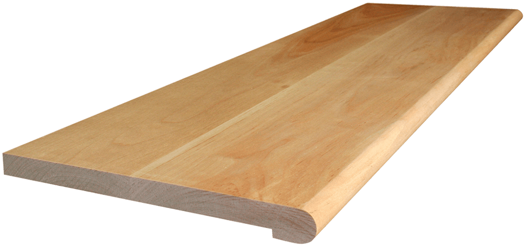 Birch Stair Tread with side angle picture.