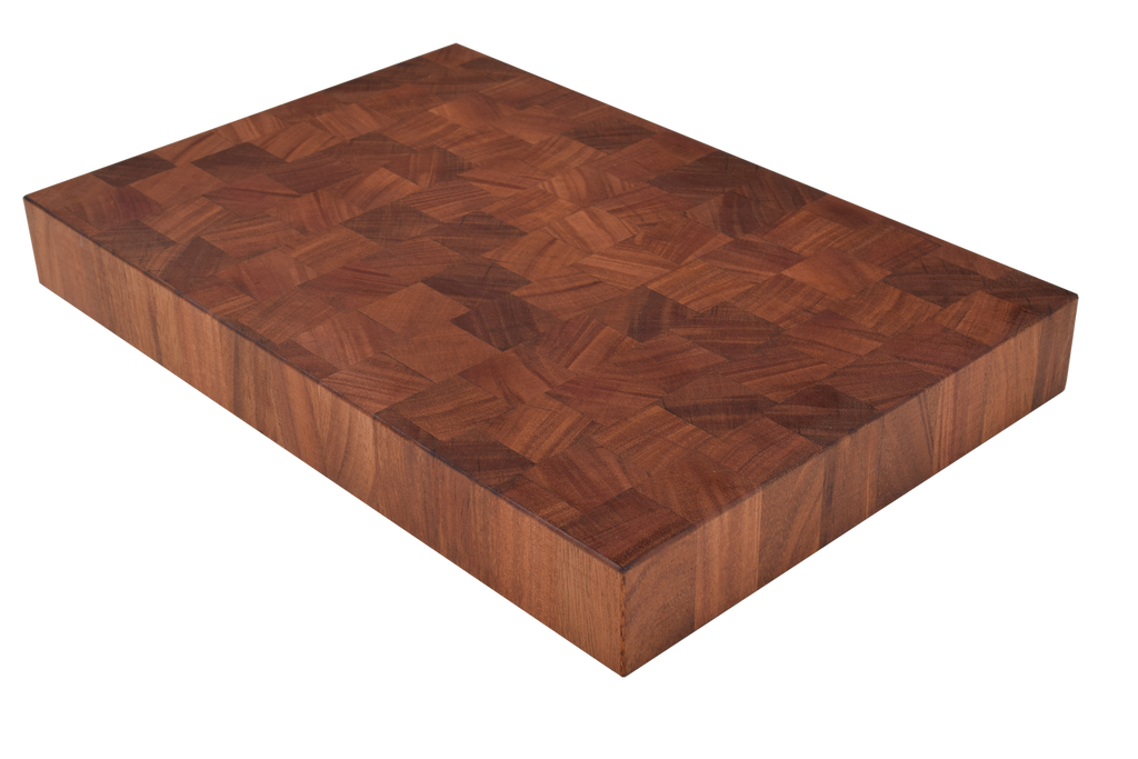 African Mahogany End Grain Butcher Block Cutting Board.