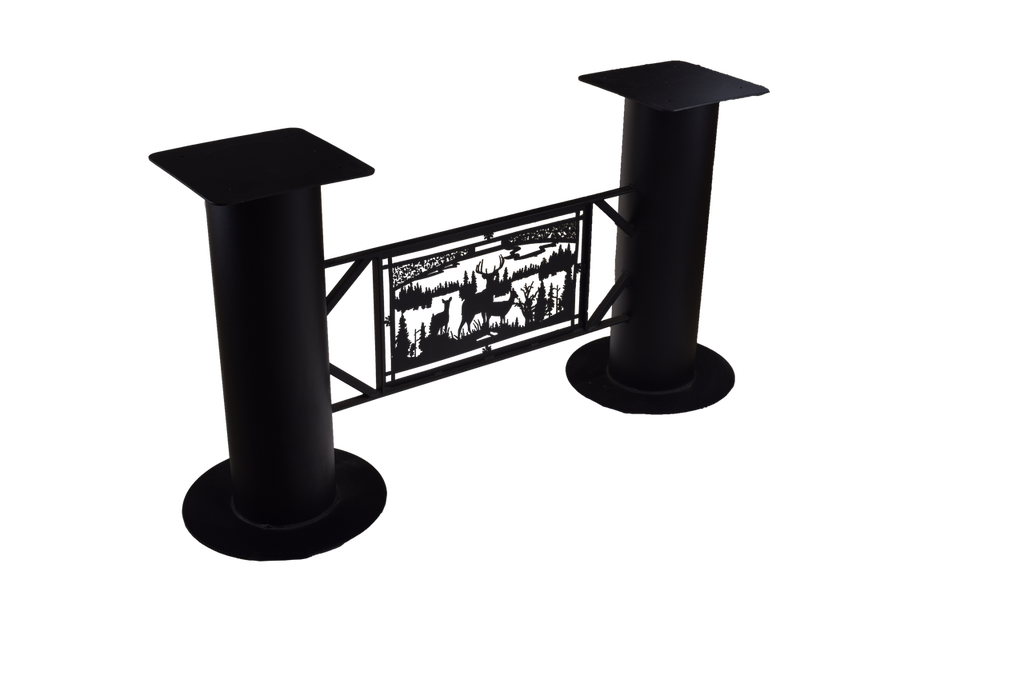 "Textured matte black powder coat finished metal table base 50"" wide x 12"" deep x 28"" high."