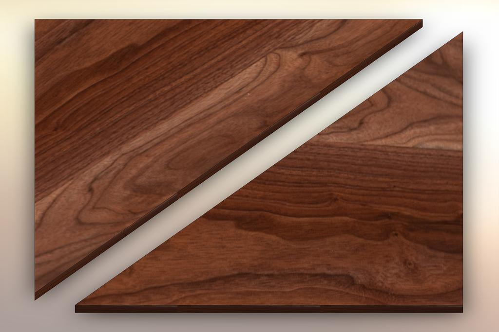 Walnut Winder Treads diagonally cut into two pieces.