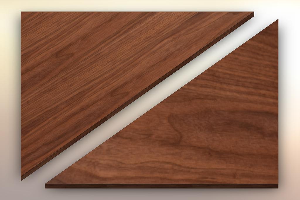 Premium Walnut Winder Treads diagonally cut into two pieces.