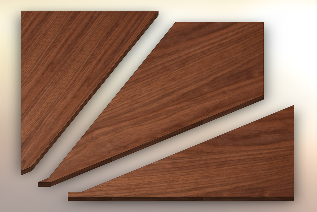 Premium Walnut Winder Treads cut into three pieces.