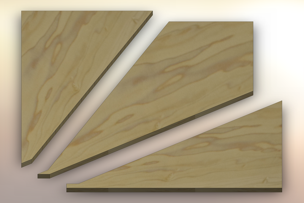 Poplar Winder Treads cut into three pieces.