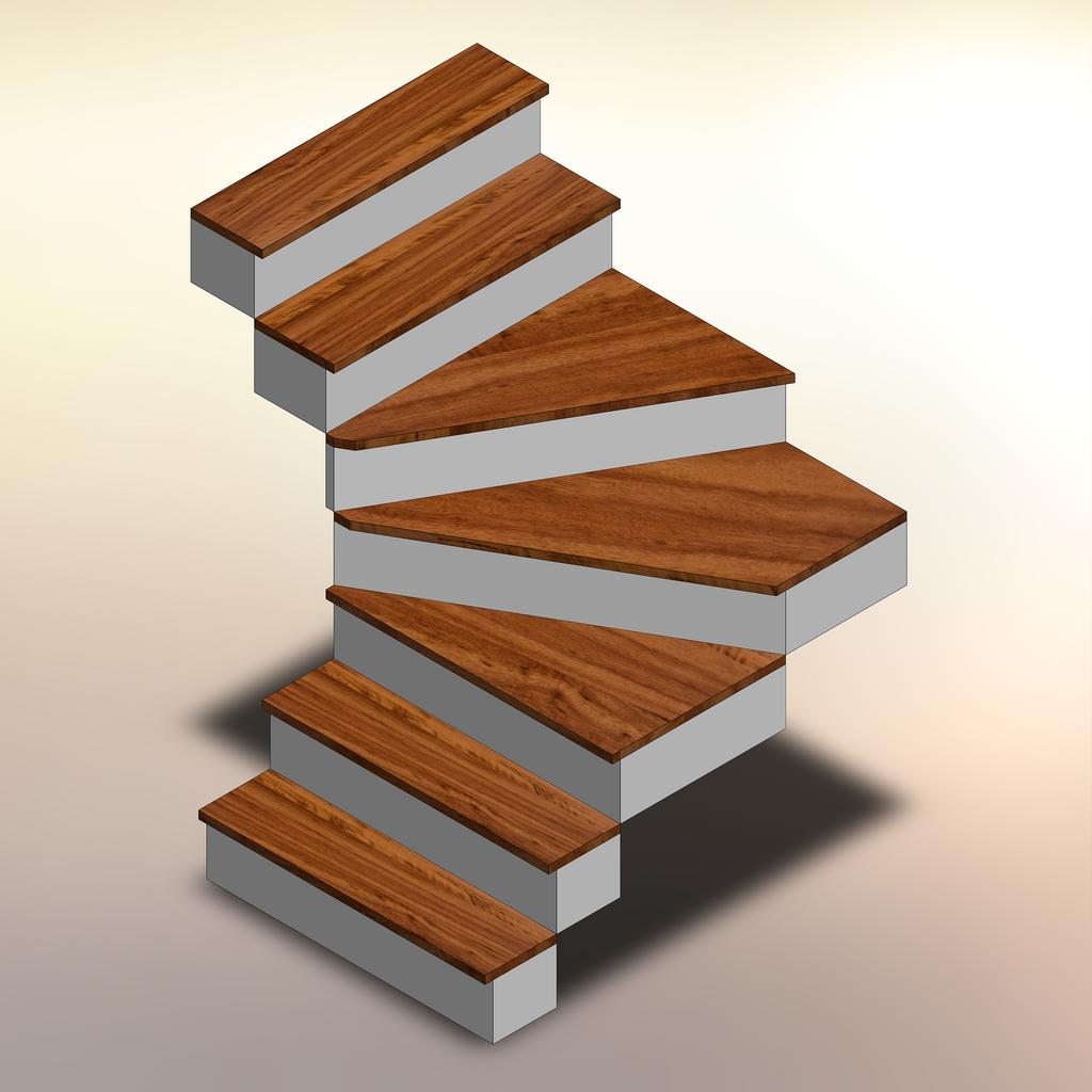 Tigerwood Winder Stair Treads