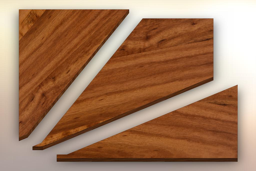 Tigerwood Winder Treads cut into three pieces.