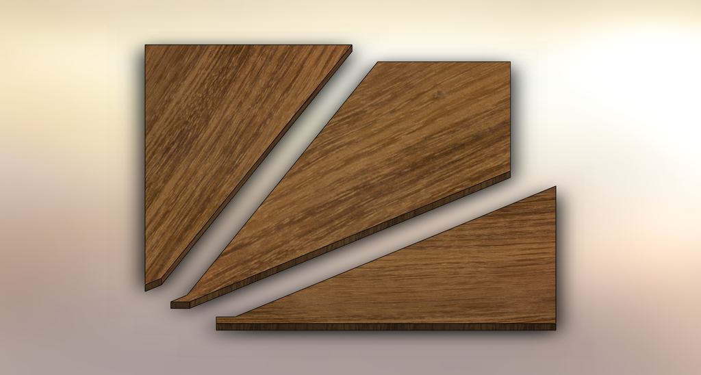 Acacia Winder Treads cut into three pieces.