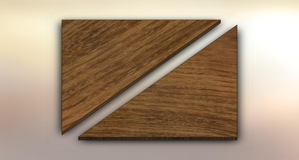 Acacia Winder Treads diagonally cut into two pieces.